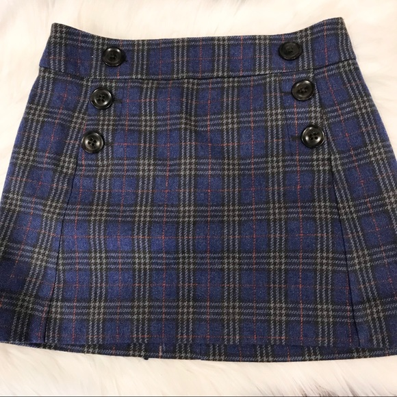533fe2521 GAP Skirts | Blue Red Wool Blend Plaid Mini Skirt | Poshmark